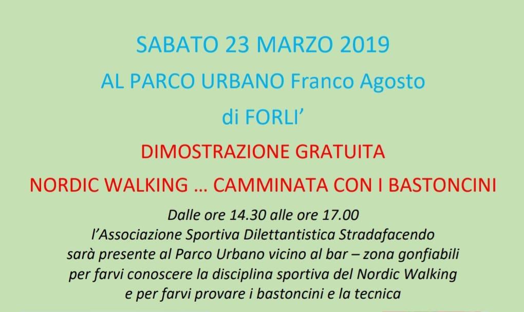 Sabato 23 marzo 2019 – Dimostrazione gratuita di Nordic Walking al Parco Urbano di Forlì