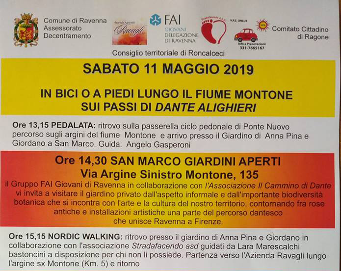 Sabato 11 maggio 2019 – Sui passi di Dante Alighieri facendo Nordic Walking